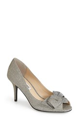 Women's Nina 'Fraser' Satin Peep Toe Pump Steel Satin