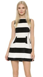 Alice Olivia Tammi Boat Neck Stripe Dress Off White Black