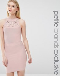 True Decadence Petite Bandage Dress With Lattice Detail Rose Pink