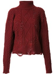 Miharayasuhiro Distressed Cable Knit Jumper Red