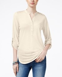 Almost Famous Juniors' Lace Back Utility Tunic Ivory