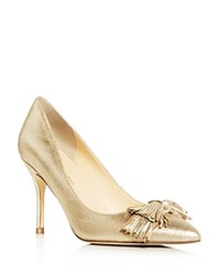 Ivanka Trump Dirent Metallic Fringe Bow Pointed Toe Pumps Gold