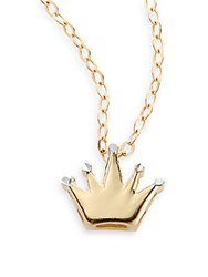 Royal Chain Yellow Gold And White Gold Crown Pendant Necklace