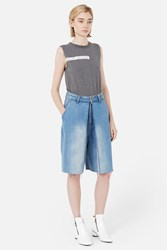 Aalto Denim Shorts With Front Pleats Light Blue
