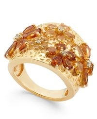 Macy's Citrine 2 1 8 Ct. T.W. And White Topaz 1 Ct. T.W. Flower Statement Ring In 14K Gold Vermeil Yellow