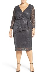Marina Plus Size Women's Sequin Lace Faux Wrap Dress Gunmetal