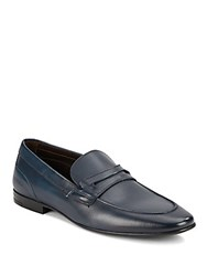 Bruno Magli Leather Penny Loafers Navy