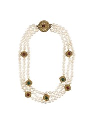 Chanel Vintage Baroque Faux Pearl Necklace White