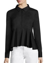 Milly Stretch Cotton Poplin Peplum Shirt White Black