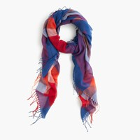 J.Crew Plaid Scarf With Tassels Cobalt Multi
