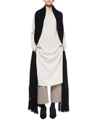 Helmut Lang Cashmere Wool Long Scarf Black