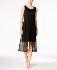 Connected Embellished Overlay Dress Black