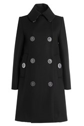 Simone Rocha Wool Blend Coat With Flower Buttons Black