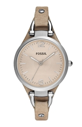 Fossil 'Georgia' Leather Strap Watch 32Mm Sand