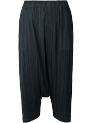 Pleats Please By Issey Miyake Crepe Cropped Harem Trousers Green