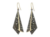 Alexis Bittar Two Tone Crystal Encrusted Layered Origami Wire Earrings Ruthenum Earring Gold