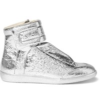 Maison Martin Margiela Future Metallic Textured Leather High Top Sneakers Silver