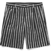 Dolce And Gabbana Wide Leg Striped Cotton Poplin Shorts Black