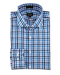 Neiman Marcus Classic Fit Non Iron Check Dress Shirt Blue