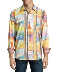 Robert Graham Lake Mead Woven Button Front Shirt Gold