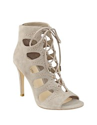 Ivanka Trump Dazy Embellished Suede Lace Up Booties Taupe