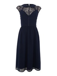 Elise Ryan Cap Sleeve Collared Skater Dress And Lace Detail Navy