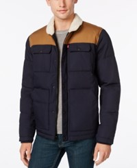 Levi's Men's Quilted Workwear Puffer With Faux Fur Collar Navy