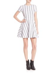 Opening Ceremony Striped Fit And Flare Dress White Multi