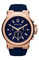 Michael Michael Kors Men's Michael Kors 'Dylan' Chronograph Silicone Strap Watch 48Mm Navy Rose Gold