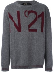 N 21 No21 Logo Intarsia Jumper Grey