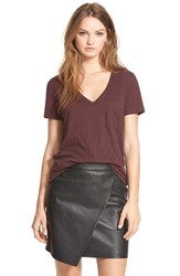 Women's Madewell Slub Pocket V Neck Tee Chocolate Raisin