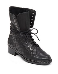 Vince Camuto Joanie Quilted Chain Trim Leather Mid Calf Boots Black