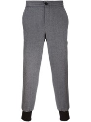 Paul Smith Ps By Cuffed Hem Tapered Trousers Grey