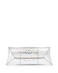 Vbh Manila Stretch Python Clutch Bag Silver