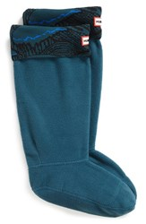 Hunter Women's Original Tall Knit Cuff Welly Socks Ocean Azure Wave Print