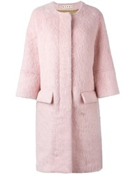 Marni Single Breasted Coat Pink And Purple