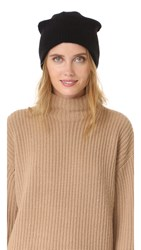 White Warren Cashmere Plush Rib Beanie Black