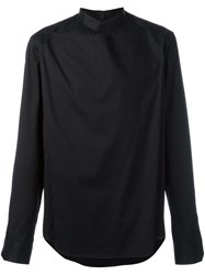 Wooyoungmi Overlay Band Collar Shirt Black