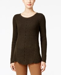 Styleandco. Style Co. Petite Ribbed Crew Neck Sweater Only At Macy's Dark Ivory Black Combo
