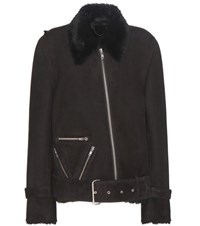 Public School Cavallo Shearling Lined Suede Jacket Black