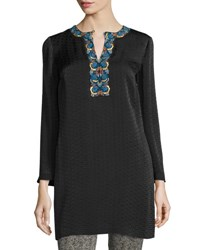 Etro Embroidered Cloque Caftan Dress Black