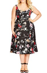 Plus Size Women's City Chic Belted Floral Fit And Flare Dress Climbing Floral