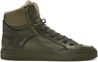 Maison Martin Margiela Mm6 Green Calfskin High Top Sneakers