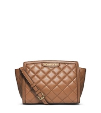 Michael Kors Selma Quilted Leather Medium Messenger Walnut