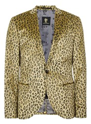 Topman Gold Noose And Monkey Leopard Print Blazer