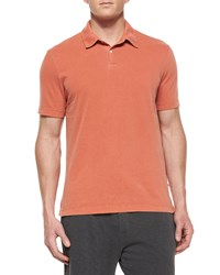 James Perse Short Sleeve Knit Polo Shirt Light Red Men's