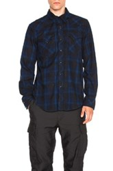 Engineered Garments Plaid Flannel Western Shirt In Blue Checkered And Plaid Blue Checkered And Plaid