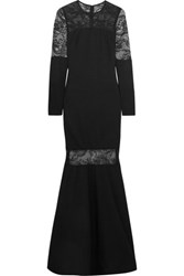 Mikael Aghal Lace Paneled Stretch Ponte Gown Black