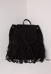 Missguided Front Tassel Retro Rucksack Black