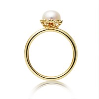 Jersey Pearl Emma Kate Gold Pearl Filigree Ring Silver